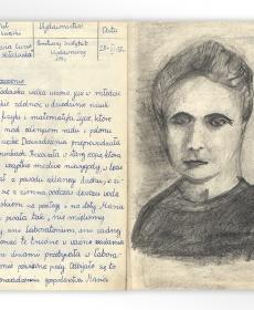 """Ilustracja do lektury Ewy Curie """"Maria Curie-Skłodowska"""""""